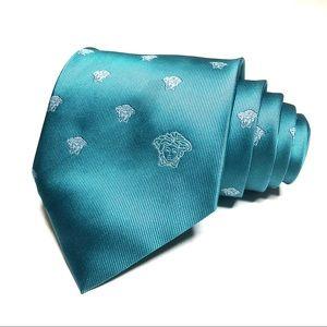 Versace Aqua Medusa Silk Tie Recent EUC